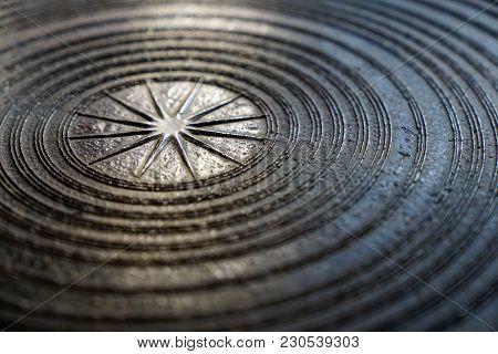 Surface Of Ancient Magnificent Bronze Drum, Frog Drum Or Rain Drum In Thailand. Circular Line Textur