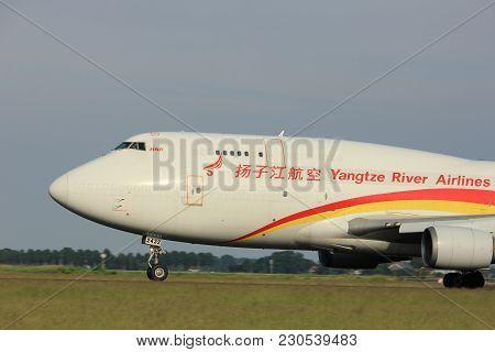 Amsterdam, The Netherlands  -  June 2nd, 2017: B-2432 Yangtze River Express Boeing 747 Taking Off Fr
