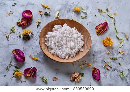 Beautiful Composition Of Spa Treatment On White Background. Concept Spa Background With Salt In Wood