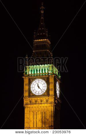 Part of Big Ben at night, Great Clock of Westminster