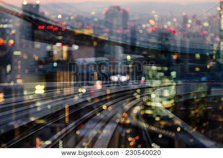 Double Exposure Night Blurred City Downtown With Moving Train Track, Abstract Background