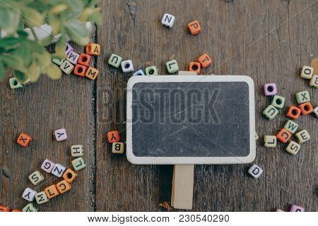 Photo Of Blank Signage, Word Block And Green Plant On Wooden Background Texture