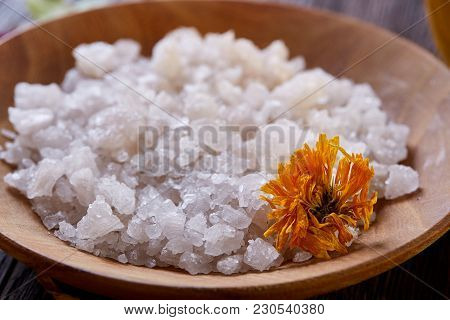 Beautiful Composition Of Spa Treatment On Dark Vintage Background. Concept Spa Background With Salt