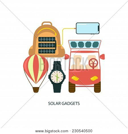 Modern Eco Technologies For Devices. Solar Energy Eco City. Icons In Flat Design. Vector Illustratio
