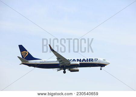 Amsterdam, The Netherlands - March 31st, 2017: Ei-fzf Ryanair Boeing 737-800 Approaching Polderbaan