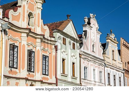 Main Square In Telc With The Famous 16th-century Houses, Czech Republic. Architectural Scene. Unesco