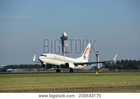 Amsterdam, The Netherlands  - August, 18th 2016: Cn-rnr Royal Air Maroc Boeing 737-7b6, Taking Off F
