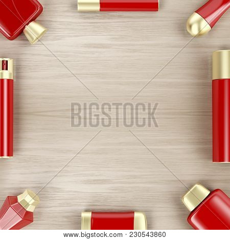Set Of Cosmetic Products On Wooden Table, Top View. 3d Illustration
