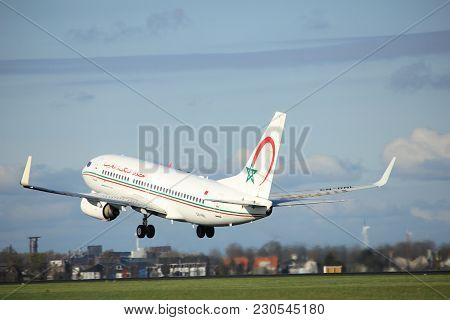 Amsterdam The Netherlands - April 7th, 2017: Cn-rnl Royal Air Maroc Boeing 737 Takeoff From Polderba
