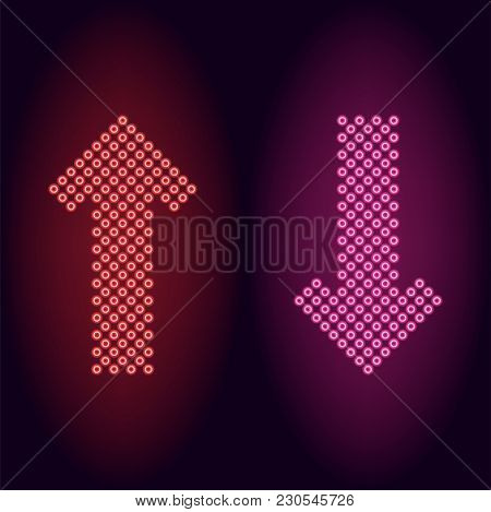Red And Pink Neon Arrow With Rings. Vector Illustration Of Long Neon Arrow Consisting Of Many Rings