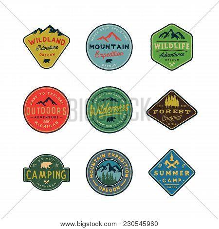 Set Of Vintage Wilderness Logos. Hand Drawn Retro Styled Outdoor Adventure Emblems, Badges, Design E