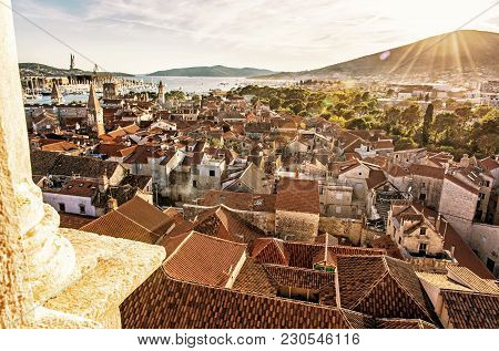 Historic Town Trogir From Cathedral Of St. Lawrence, Unesco, Croatia, Sunset Scene. Travel Destinati