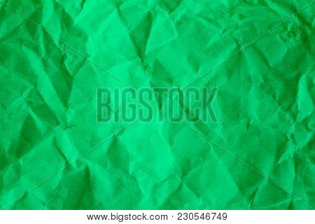 Crumpled Of Green Recycle Paper Background, Textured For Background.
