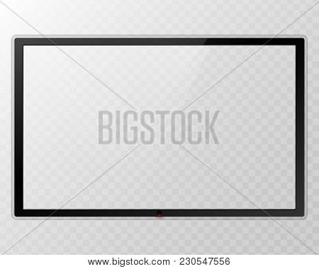 Frame Tv. Empty Led Monitor Computer Black Photo Frame Isolated On Transparent Background. Vector Bl