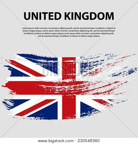 Flag Of The United Kingdom Of Great Britain And Northern Ireland, Brush Stroke Background. Flag Of U