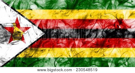 Zimbabwe Smoke Flag On A White Background