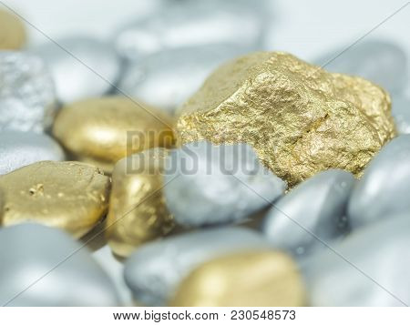 Group Of Macro Gold And Silver Ore In The Boulder , Precious Stone