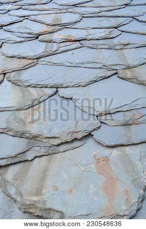 Rustic Background With Texture Of Older Schist Tiles
