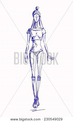 Vector Fashion Hot Model. Vector Sketch Fashion Silhouette. Painting Vintage Lady. Swimsuit Pencil S