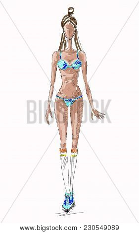 Vector Fashion Sexy Girl Sketch In A Swimsuit. Vector Summer Fashion Dady. Fashion Graphic Design. U