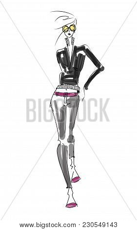 Vector Fashion Model. Vector Sketch Fashion Silhouette. Painting Vintage Lady. Digital Fashion Sketc