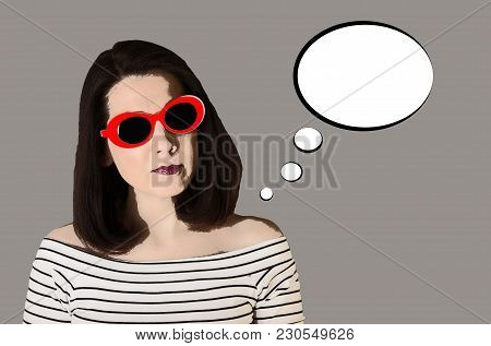 Photo In The Style Of Pop Art. Young Comic Woman In Striped Top And Red Sunglasses - Pin Up Style.