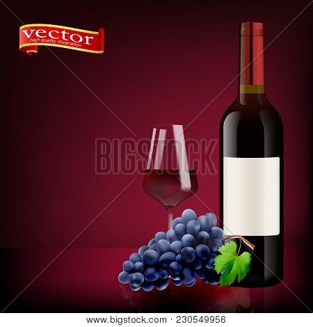 Ripe Grapes, Wine Glass And Bottles Of Wine Isolated On White. Red Wine. Glasses, Bottle, Grapes. 3d
