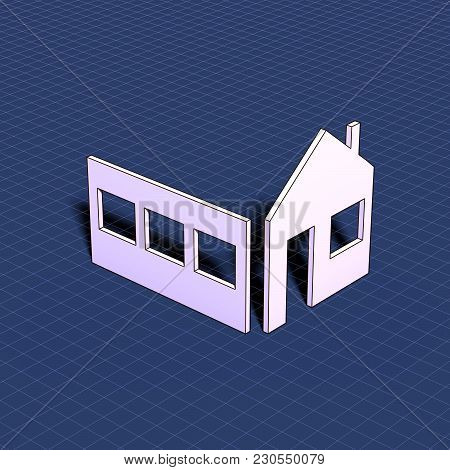Home. Element Of Blueprint Drawing In Shape Of House Sign. 3d Illustration