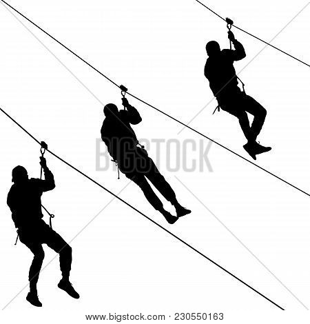 Black Set Silhouette Extreme Rope Descent Attraction, Man Descends Down The Cable Car.