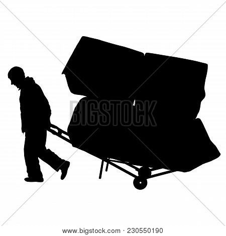 Black Silhouette Hard Worker Pushing Wheelbarrow And Carry Big Box Isolated On White Background.