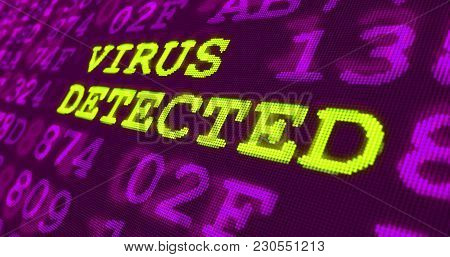 Cyber Attack And Computer Security Warnings - Virus Detected - Green Words And Numbers On Ultraviole