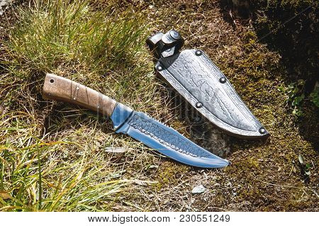Combat Knife With Scabbard Lying On The Grass In The Forest .survival In The Wild Of A Concept