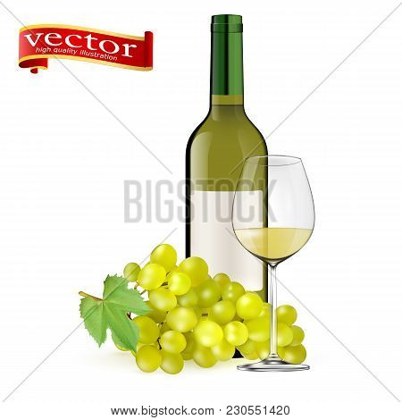 Ripe Grapes, Wine Glass And Bottles Of Wine Isolated On White. White Wine. Glasses, Bottle, Grapes.