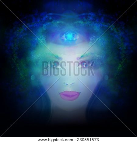 Woman With Third Eye, Psychic Supernatural Senses , Raster
