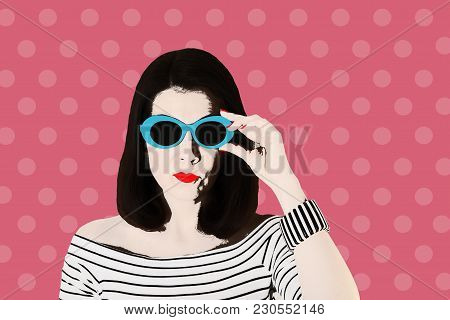 Photo In The Style Of Pop Art. Woman In A Black And White Striped Top And Blue Sunglasses, Pin Up St
