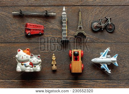 Flat Lay Aerial Image Of Travel Background Concept.table Top View Of Souvenir Symbol Location Or Lan