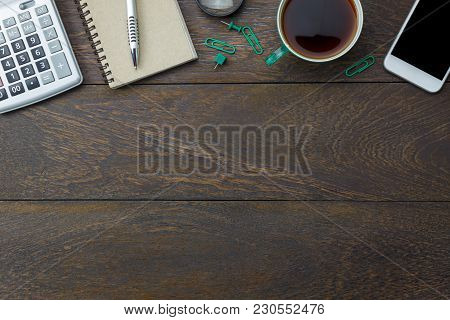 Top View Aerial Image Shot Of Arrangement Accessory Business Background Concept.flat Lay Black Coffe
