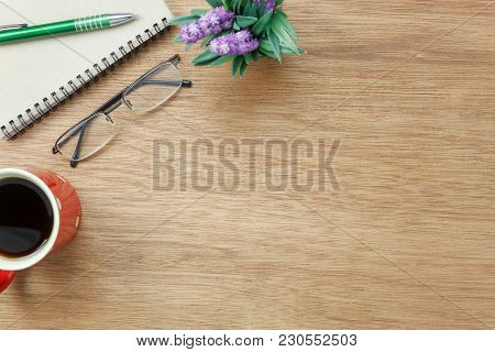 Table Top View Aerial Image Stationary On Office Desk Background Concept.flat Lay Objects The Cup Of