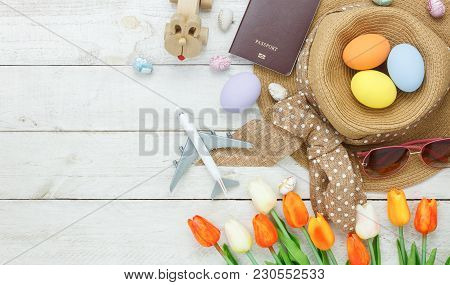 Table Top View Shot Of Decoration Happy Easter Holiday Background With Accessory Woman To Travel Con