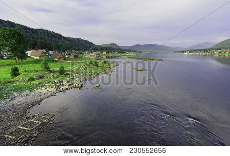 Russia, Siberia, The Republic Of Altai Mountains. The Source Of The Biya River, A View Of Lake Telet