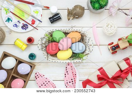 Top View Shot Of Arrangement Decoration Happy Easter Holiday Background Concept.flat Lay Colorful Bu