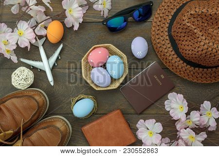 Table Top View Shot Of Decoration Happy Easter Holiday Background Concept.flat Lay Essential Objects