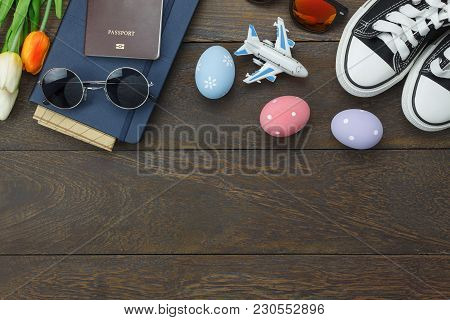 Top View Shot Of Arrangement Decoration Happy Easter Holiday Background