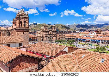Plaza De Armas Of The City Of Cusco, Peru.