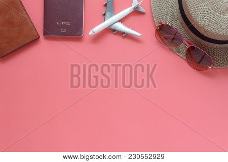 Table Top View Accessory Of Clothing Women Plan To Travel In Holiday Background.beauty & Fashion Con
