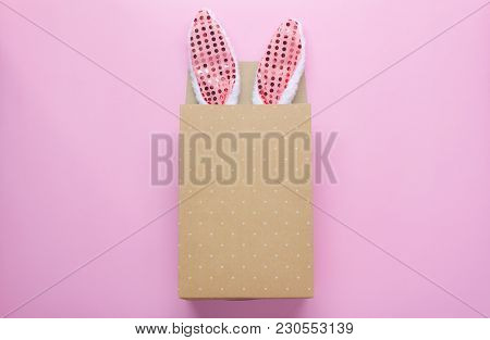 Table Top View Shot Of Decorations Happy Easter Holiday Background Concept.flat Lay Bunny Ear In Pap