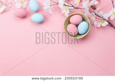 Table Top View Shot Of Arrangement Decoration Happy Easter Holiday Background Concept.flat Lay Color