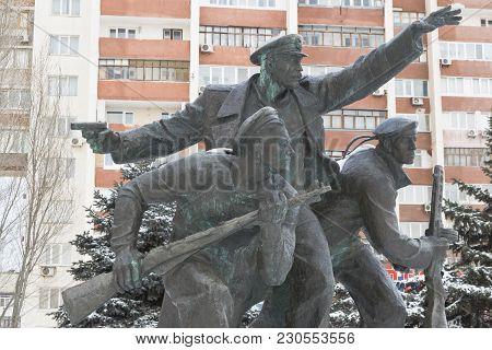 Evpatoria, Crimea, Russia - February 28, 2018: Monument To The Yevpatoriya Landing On The Mass Grave
