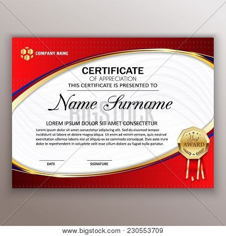 Beautiful Certificate Template Design With Best Award Symbol. Vector