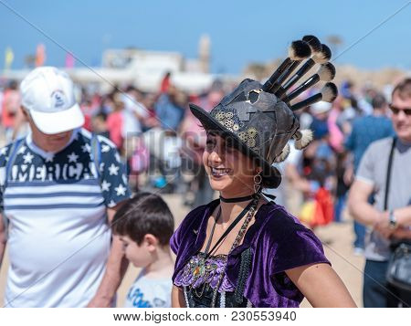 Caesarea, Israel, March 03, 2018 : Participants Of The Purim Festival Dressed In Fairy-tale Costumes